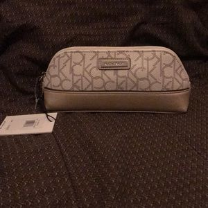 Calvin Klein Leather Cosmetic Bag